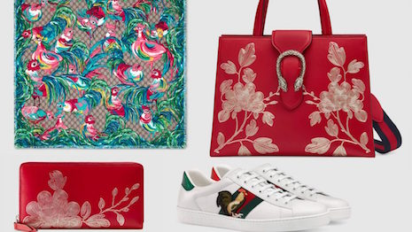 Gucci released a collection of several items for Chinese New Year, including a handbag, scarf, wallet, and sneakers