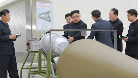 North Korean leader Kim Jong Un inspecting a bomb. The country Sunday, Sept. 3 detonated a nuclear device which it claimed was a hydrogen bomb. The underground explosion caused a 6.3 earthquake on the Richter scale in North Korea and in parts of neighboring China. Image source: North Korea Times