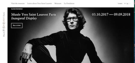 Musée Yves Saint Laurent Paris Web site homepage. Image credit: Musée Yves Saint Laurent Paris