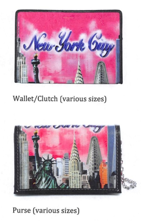 Balenciaga's wallet and purse designs with the New York skyline