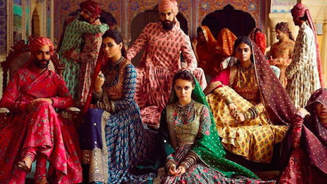 Sabyasachi Calcutta dresses models up in its highly-embroidered pre-wedding collection for the henna ceremony. Image credit: Sabyasachi Calcutta