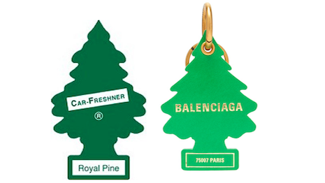 Pining for rights: Car-Freshner's $3 car freshener to the left and Balenciaga's $275 key chain to the right. Image credit: Springut Law