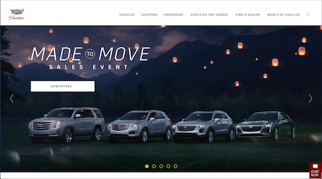 Can they move? Cadillac product line-up on the brand's Web site. Image credit: Cadillac
