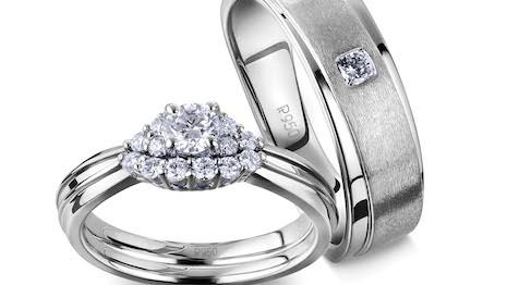 Platinum Days of Love wedding bands. Courtesy of Platinum Guild International