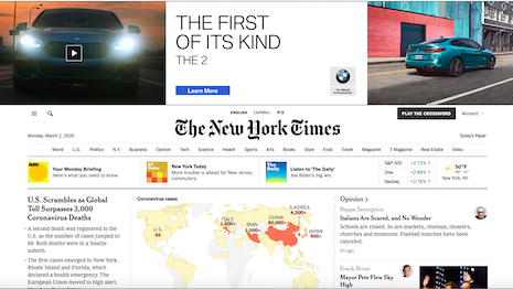 The New York Times has become the largest news publication by paid subscription in the United States, almost taking on a monopoly status in the market. Image credit: The New York Times