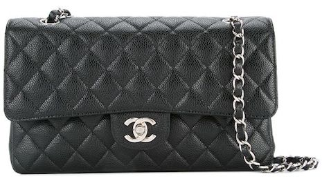 Chanel's classic double-flap bag (pre-owned) saw a 75 percent increase in searches over the quarter, closing the hottest women's products list in 10th place, according to the Lyst Index's hottest brands for the first quarter. Image credit: Chanel, Lyst