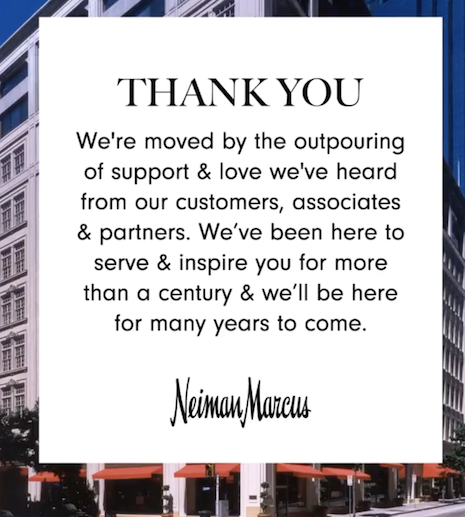 Neiman Marcus post on Instagram thanking customers for their support as the company files for bankruptcy. image credit: Neiman Marcus