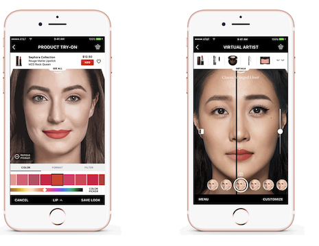 Sephora's Product Try On and Virtual Artist apps. Image credit: Sephora