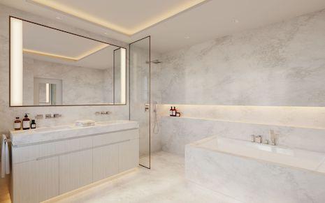 Serenity reigns in this minimalist bathroom by Alix Lawson. Image courtesy of Alix Lawson
