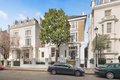 Facade of house for sale at Upper Phillimore Gardens, Kensington, London W8. Image courtesy of Knight Frank