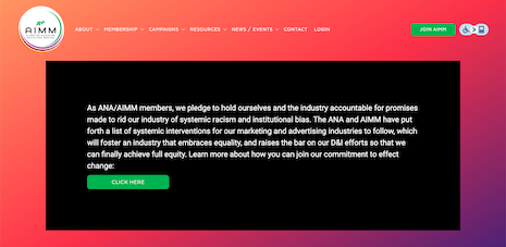 The ANA AIMM Web site homepage. Image credit: ANA, AIMM