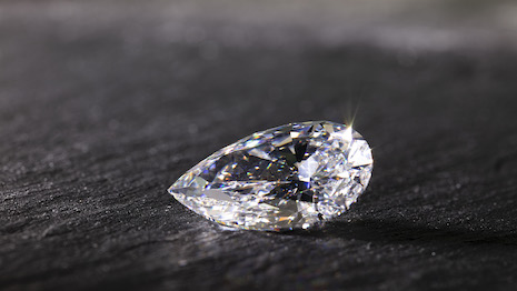 Pear-shaped diamond from De Beers. Image courtesy of De Beers Group