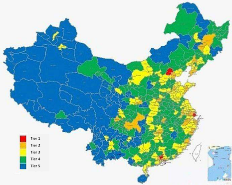 Within China, a new growth opportunity is emerging specifically in lower-tier cities, including Tier 3 cities (shown in the yellow areas in the above map), as well as even Tier 4 and 5 cities (in the green and blue areas). Source: Agility Research & Strategy